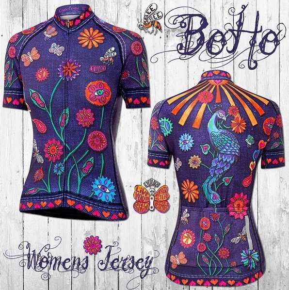 Bohémsky dizajn dámskeho cyklistického dresu. Netradičný, umelecký, kočovný, temperamentný, kvetinový a džínový.